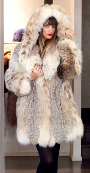 Russian Lynx Fur Hooded Stroller