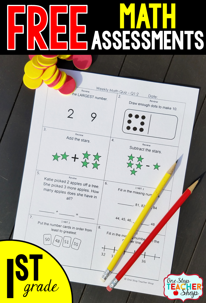 Free Math Assessments or Quizzes for 1st Grade. These 1st Grade Math ...