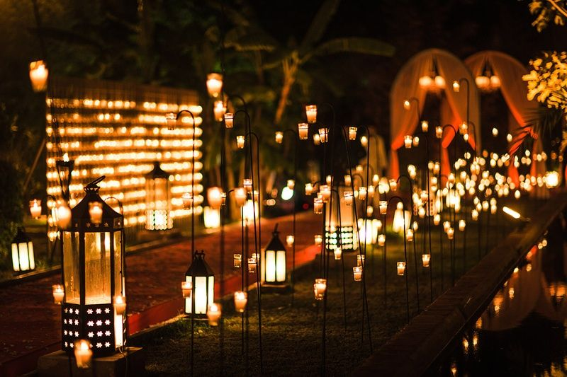 Pathway Lit Lanterns Lights Nighttime Wedding Ceremony