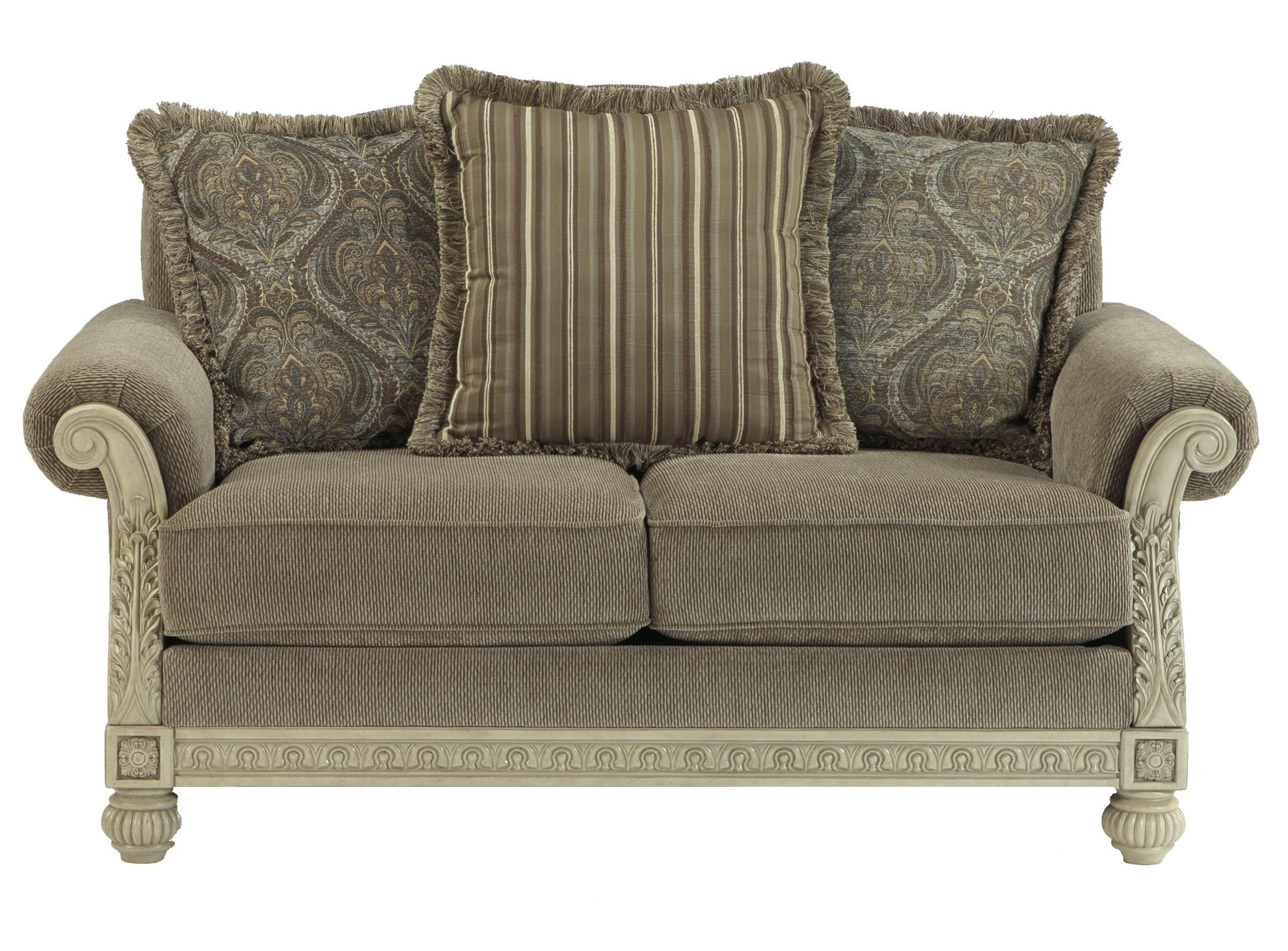 Parkington Bay Platinum Roll Arm Loveseat W Exposed Wood By