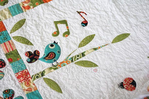"Get the Songbird, Tree branch & Sun applique patterns and tutorial for the ""Secret Garden"" Quilt Blanket."