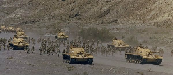 Battle scene from 'Patton' (1970)  American tanks (M48s) thinly