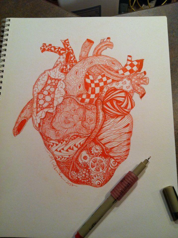 anatomical heart | zentangle | Pinterest
