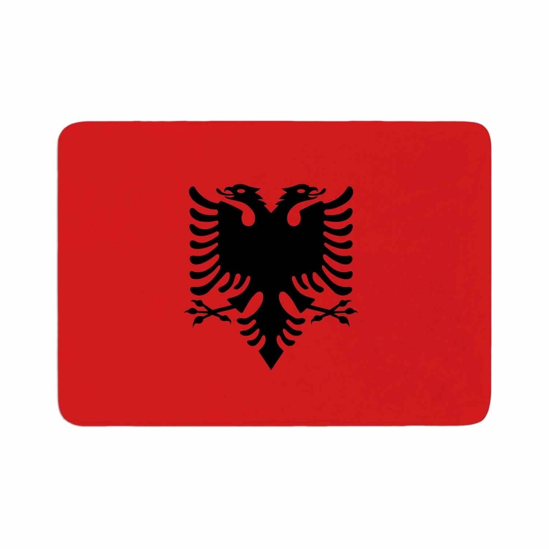 Bruce Stanfield Flag Of Albania Memory Foam Bath Mat Red Kess