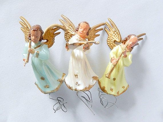 VINTAGE HONG KONG BLUE ANGEL SITTING ON MOON HOLDING A STAR ORNAMENT