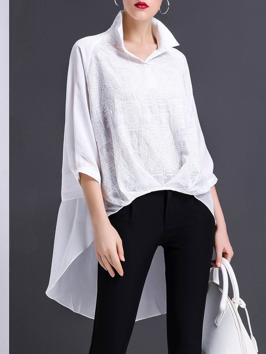 Sporting Twotwinstyle Long Shirt For Women Batwing Sleeve Tunic High Waist Split Summer Thin Blouse Tops 2018 Fashion Korean Clothing To Win A High Admiration Women's Clothing
