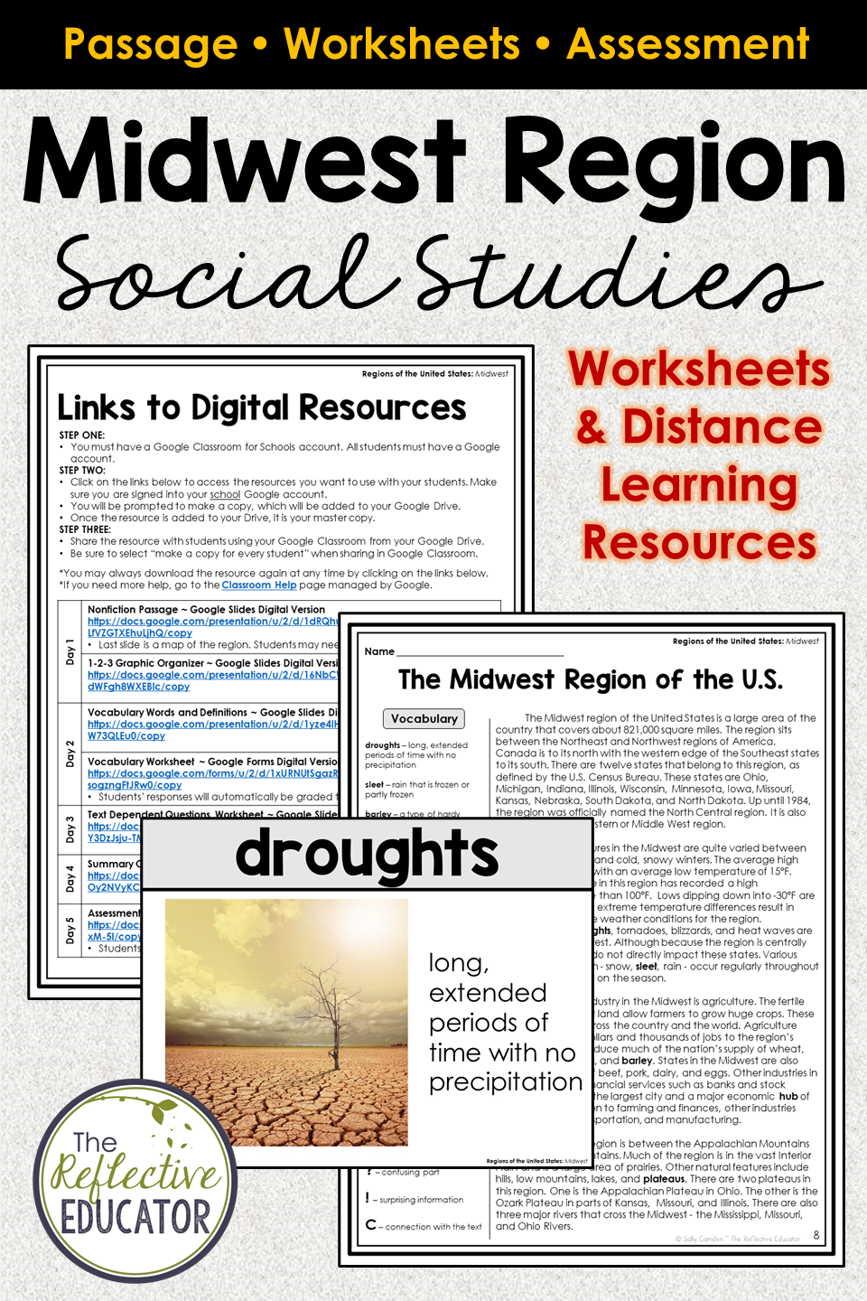 Midwest Region for Google Classroom™   Distance Learning   Elementary  social studies lessons [ 1440 x 960 Pixel ]