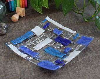 Blue clear white 8 inch square plate with negative space & Clear square 6 inch 6x6 fused glass sushi plate dish with blue ...