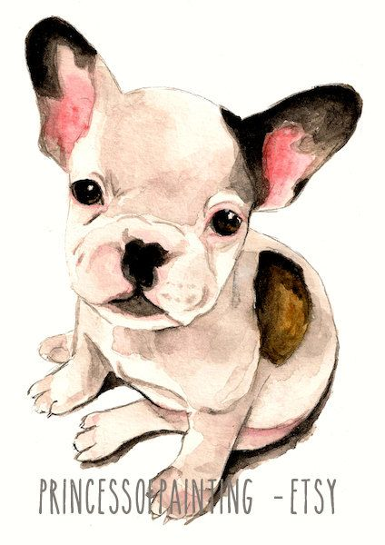 Watercolor French Bulldog Dog Print A4 Size Pug Bulldog Puppy