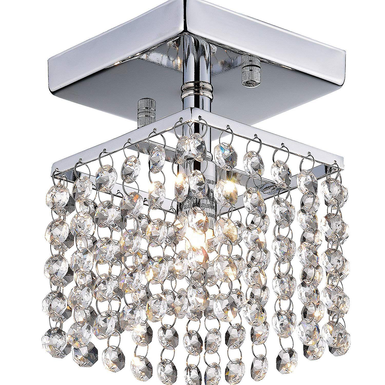 Mini Crystal Flush Mount Chandelier Lighting 1 Light Chrome Finish
