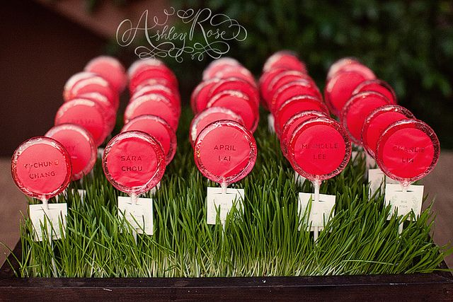 Vinyl names on lollipop escort cards | In The Now Weddings + Events | Ashley Rose Photography