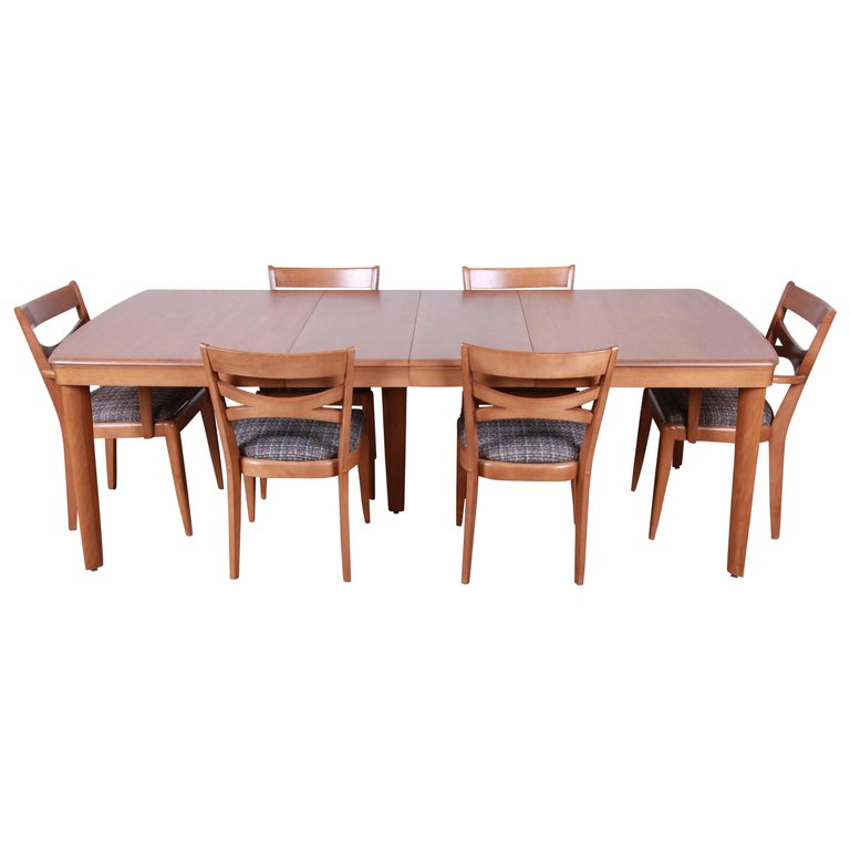 Heywood Wakefield Mid Century Modern Extension Dining Table And