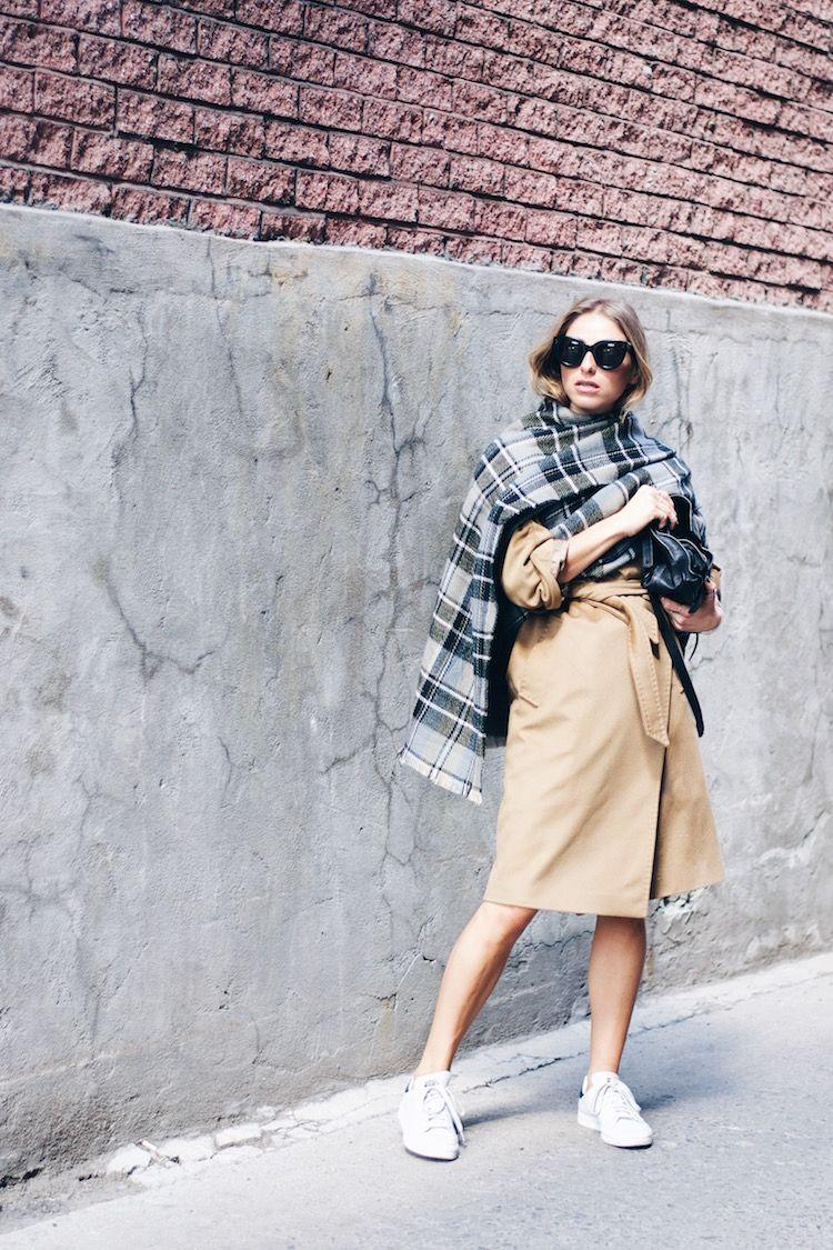 max mara camel coat, adidas sneakers, street style