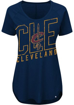 1562007372d Majestic Cleveland Cavaliers Womens Fanatic Force Navy Blue Scoop T-Shirt