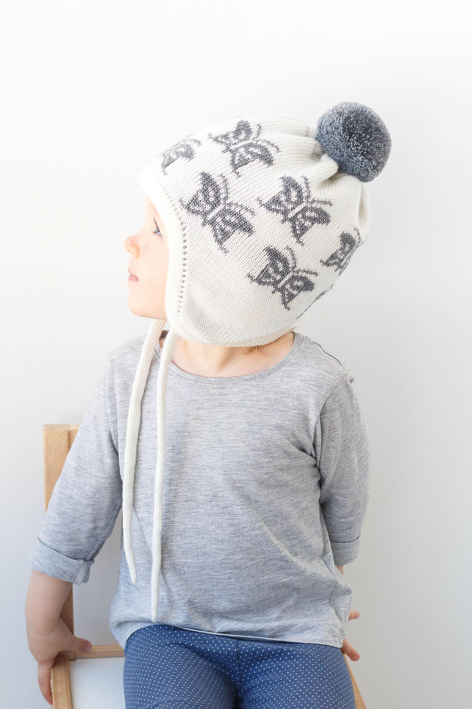 Baby Girl Knit Earflap Hat With Pom Pom Toddler Girl Winter Etsy Girl With Hat Toddler Girl Girl Knitting