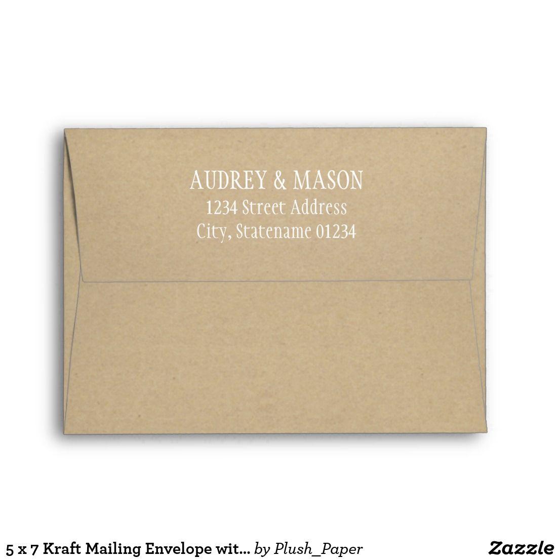5 x 7 kraft mailing envelope with return addresscustom a7 wedding