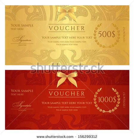 Voucher, Gift certificate, Coupon template Floral, scroll pattern - money coupon template