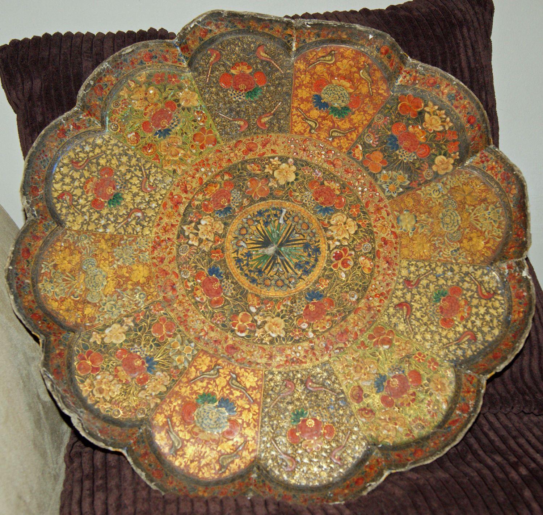 Papier Mache tout antique kashmiri beautifully decorated papier mache tray   kashmiri