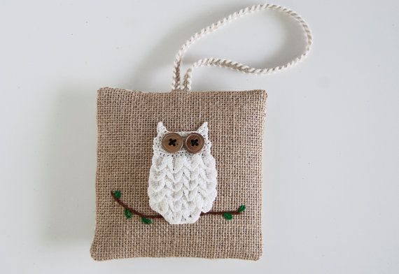 Balsam sachet pillow hand crocheted snowy owl by TableTopJewels,