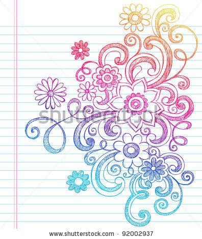 flowers and vines sketchy back to school doodles notebook doodle vector illustration design elements on lined sketchbook paper background stock vector