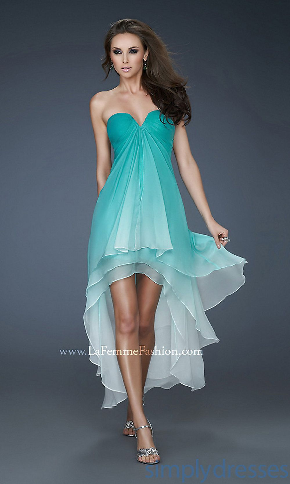 Strapless Ombre High Low Dress, High Low Prom Dress - Simply ...