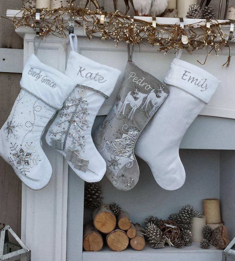 Personalized Christmas Stockings Silver White Velvet ...