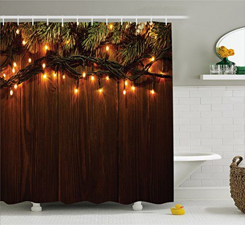 Christmas Shower Curtain by Ambesonne Xmas Branch with Lights
