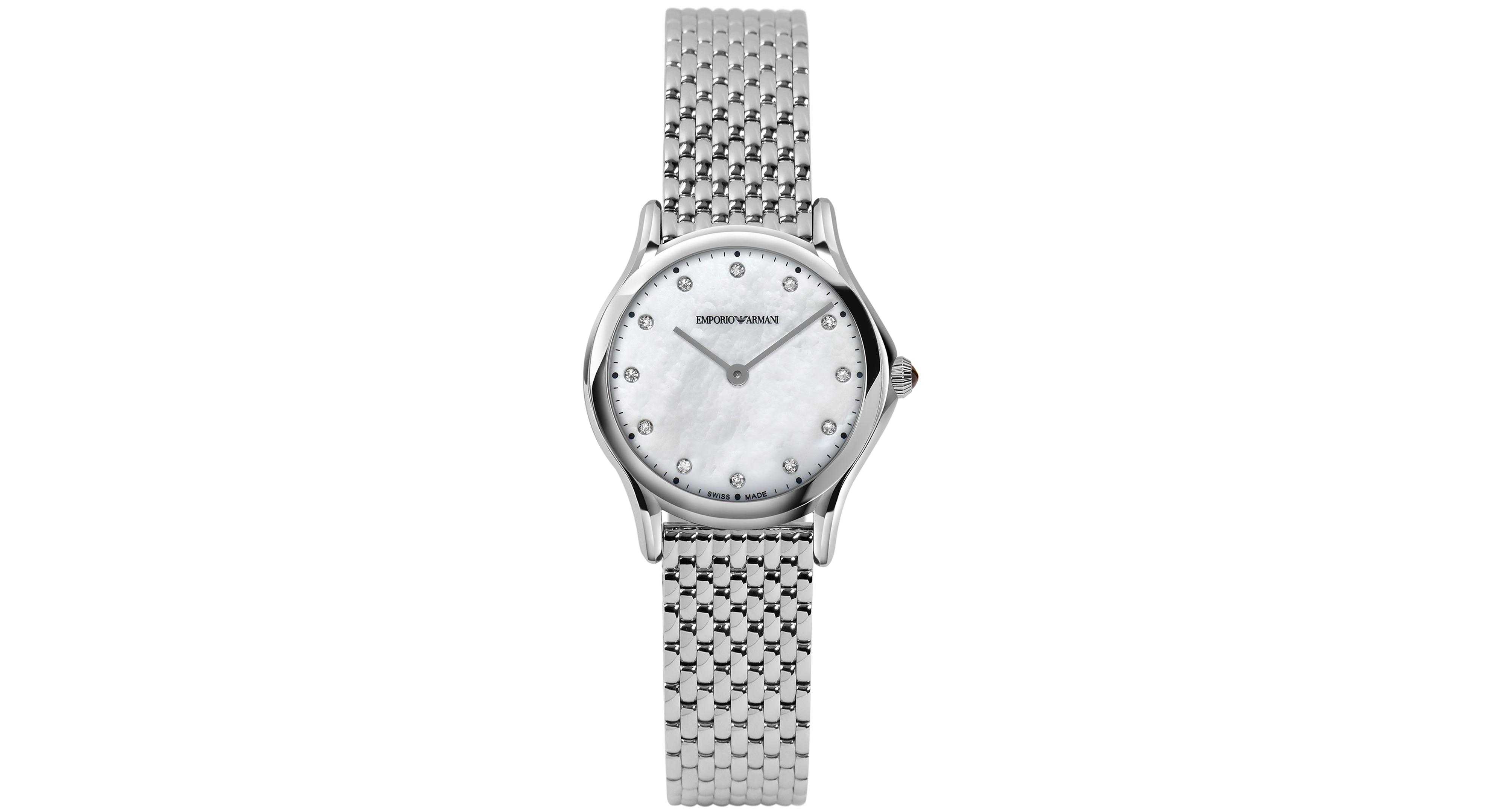 Emporio Armani Women s Swiss Diamond Accent Stainless Steel Bracelet Watch  28mm ARS7501 70c69853213