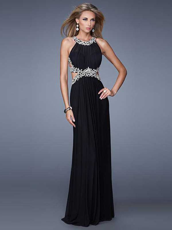 Low V-Neck Strappy-Back Prom Dress- PromGirl