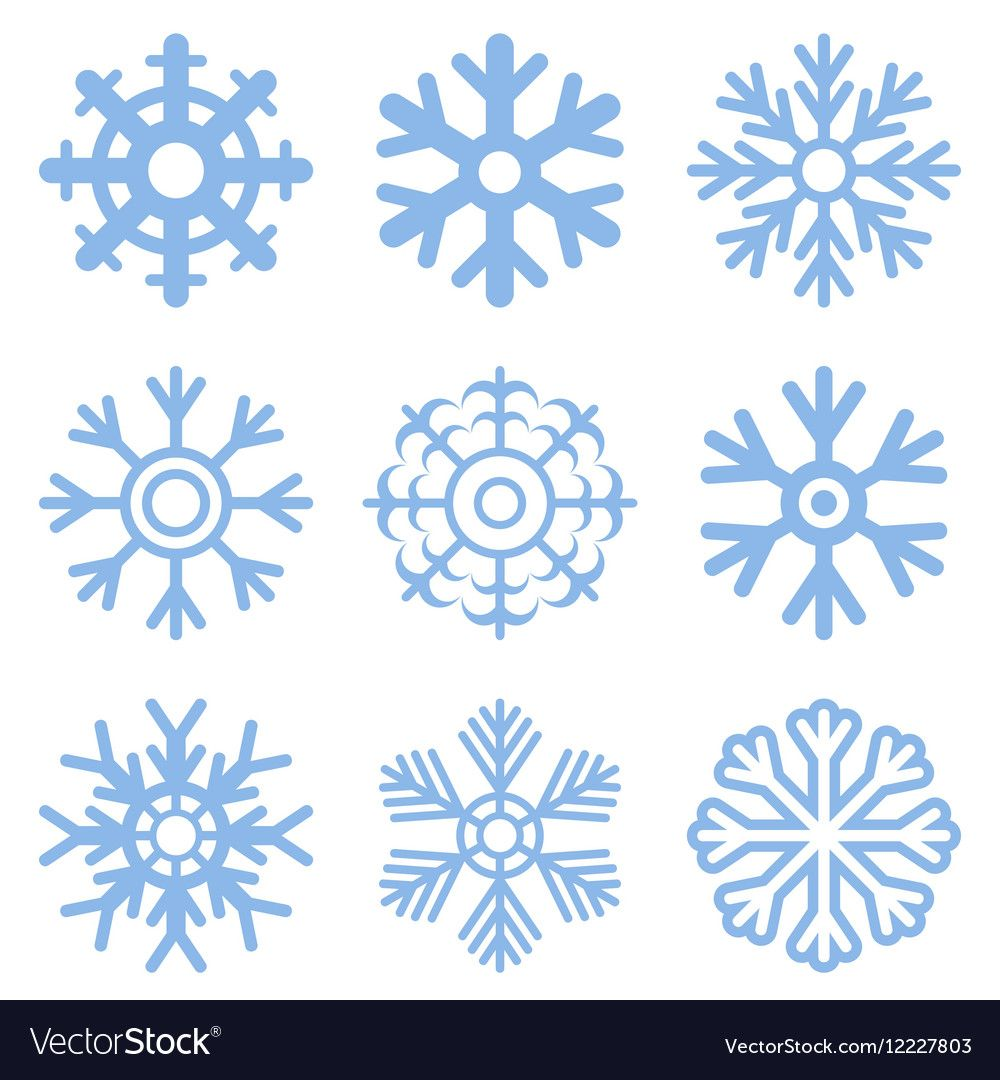 Vector blue snowflake icon set. Download a Free Preview or