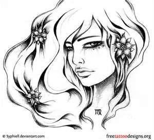 Virgo Tattoo Design On Nape Sexy August