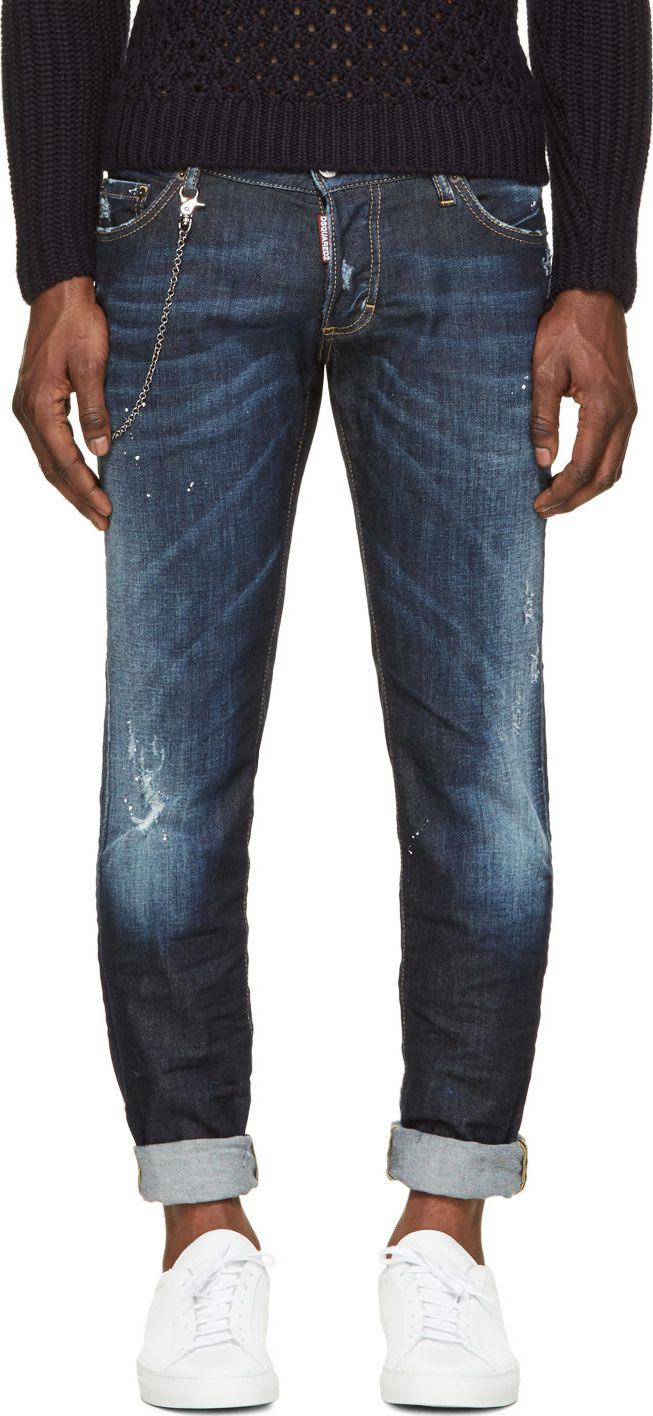 Dsquared2 Blue Easy Every Day Distressed Chain Jeans