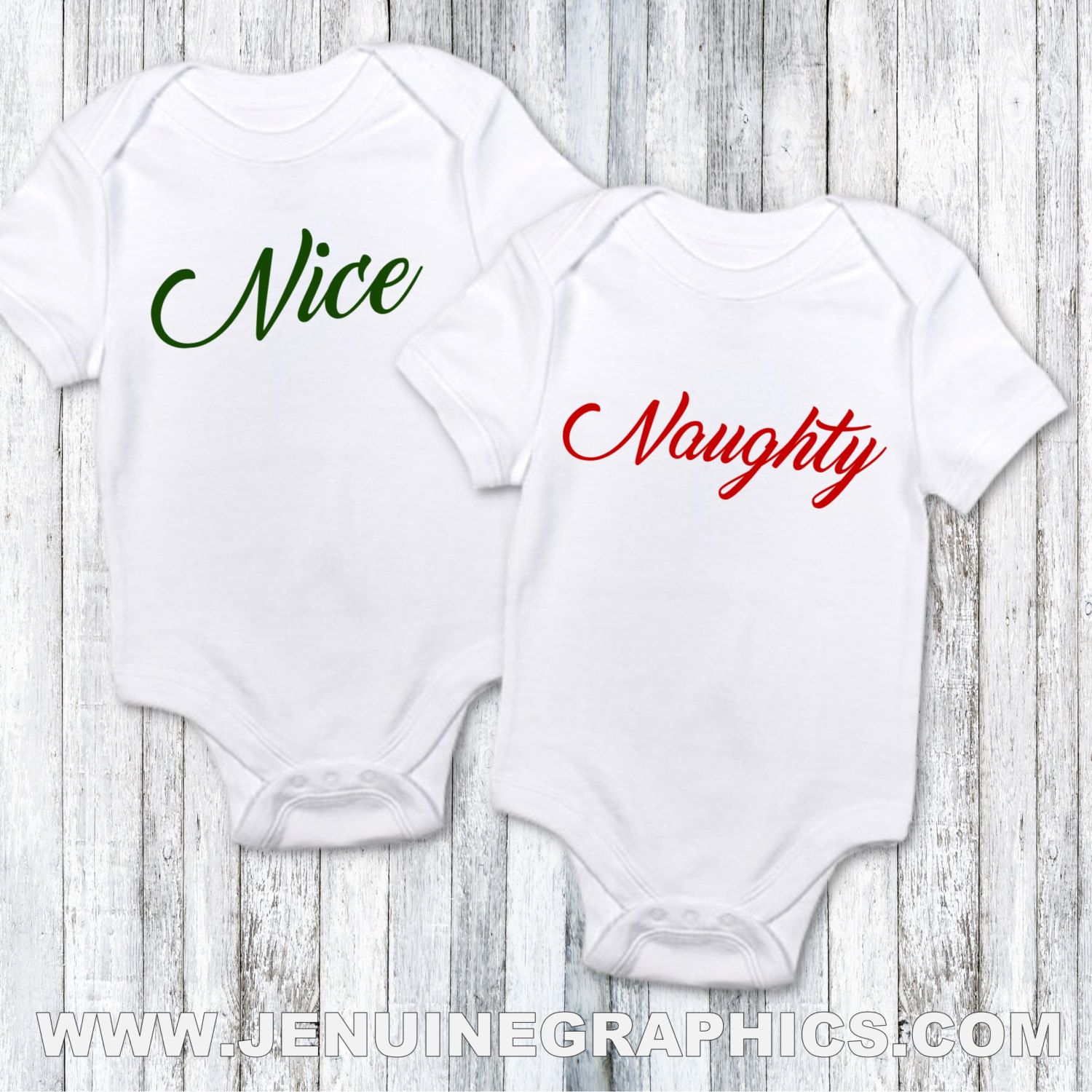 Naughty and nice baby onesie set first christmas baby gift idea ...