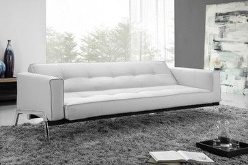 Terrific Romano Convertible Sofa Bed In White Eco Leather Pdpeps Interior Chair Design Pdpepsorg