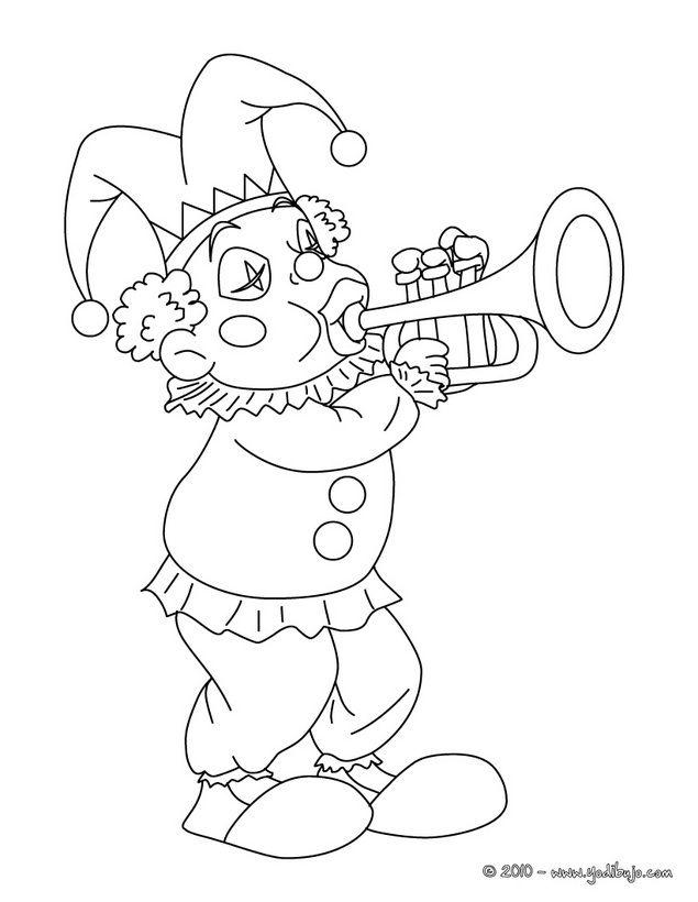 Dibujo de PAYASO tocando trompeta para colorear | Payasos 1 | Pinterest