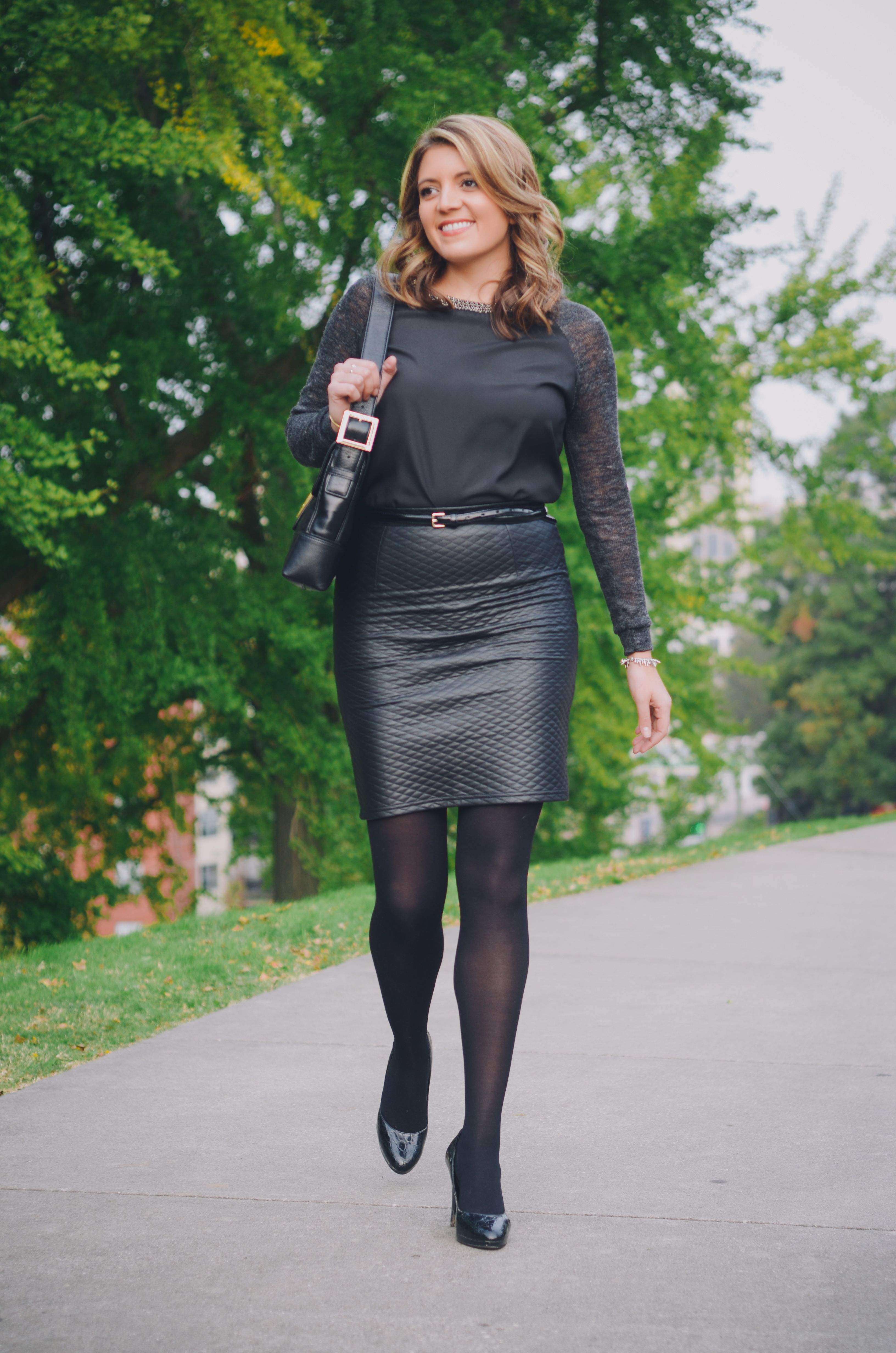 2019 year for women- How to faux wear leather pencil skirt