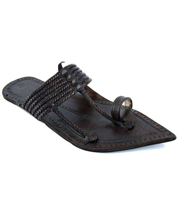 a8c71e8c20f3 Gorgeous Black Six Braided Extra Pointed Kolhapuri Chappal for Men M ...