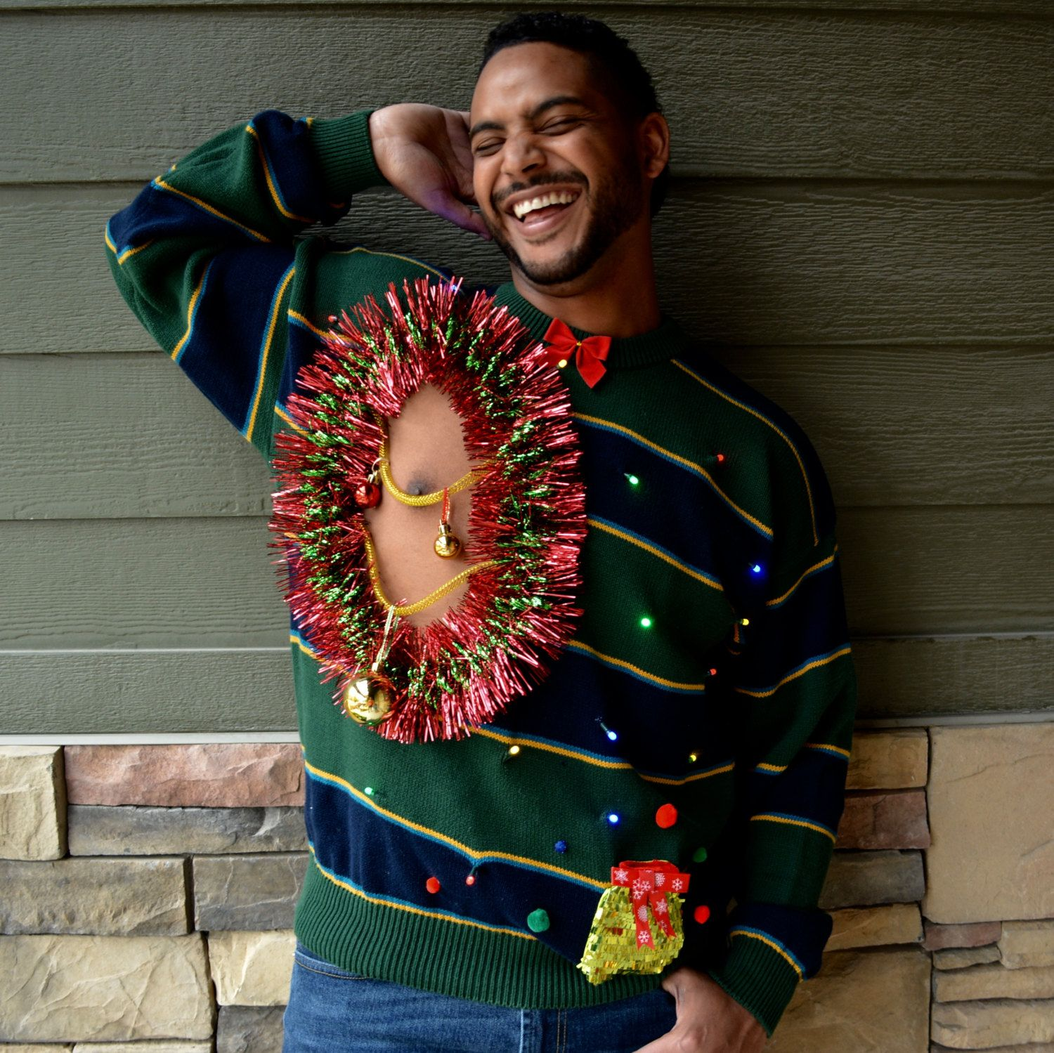Balls Sexy Ugly Christmas Sweater, Men's XL, Light up, chest, boob ...