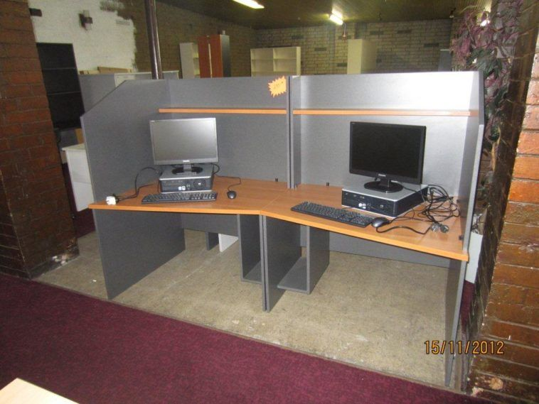 Creative Long Wood Top Computer Desk For Two With Silver Partition For Office Cubicle