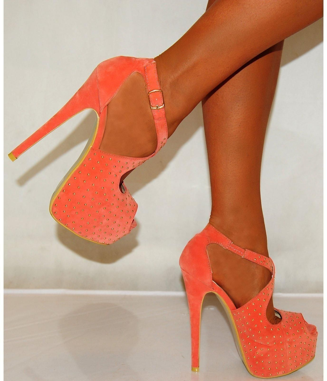 Coral Studded Pumps with Ankle Strap · Orange High HeelsOrange ...