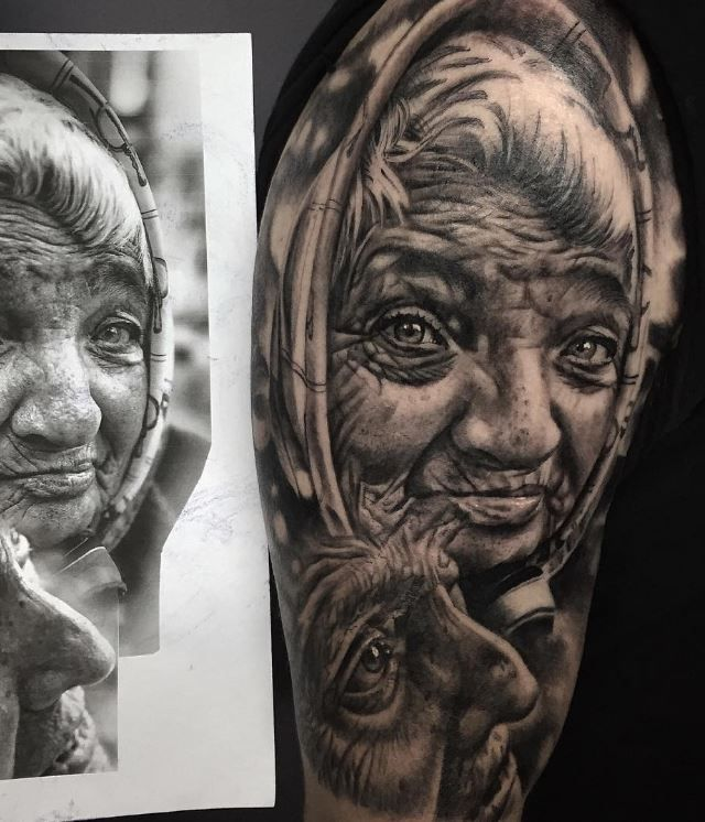 Old Women Portrait Tattoo