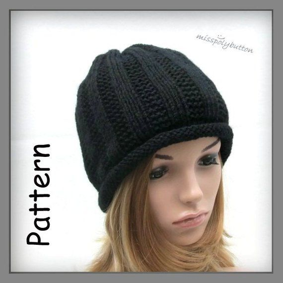Instant Download Knitting Pattern - Knit Hat Pattern for Textured Roll Brim  Beanie Hat - Womens Bean 3e8ee4d90a1