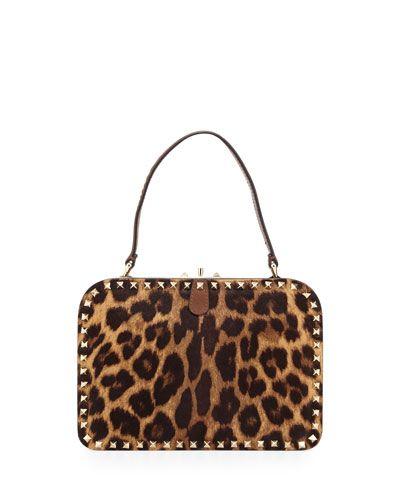 Rockstud Leopard-Print Fur Satchel Bag, Multi