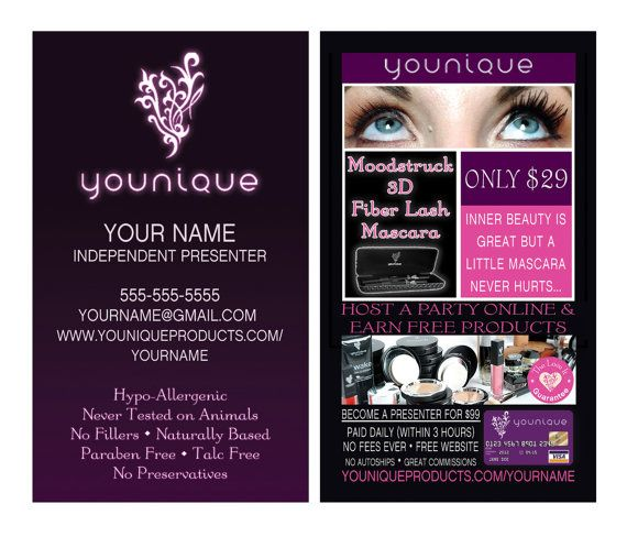1000 younique business cards customized with your information thick glossy 16pt full color cards standard business card size 2x35 inches - Younique Business Cards