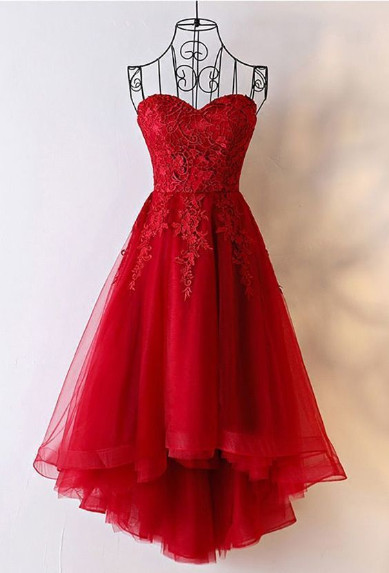 Unique Burgundy High Low Tulle Cheap Prom Dress With Appliques,C289
