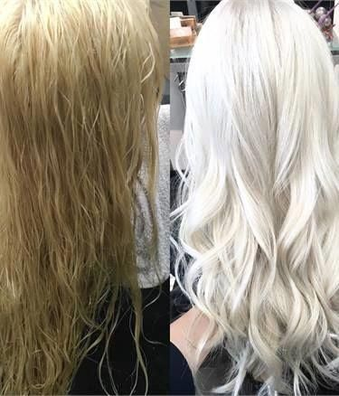 COLOR CORRECTION: Old-Fashioned to Icy Level 10 Blonde - Hair Color - Modern Sal...,  #Blonde #color #Correction #hair #icy #Level #Modern #OldFashioned #Sal