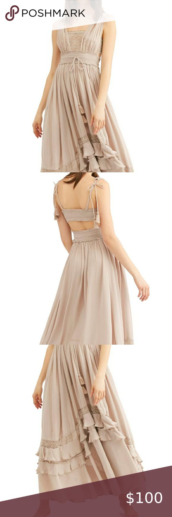 Free People Santa Maria Maxi Dress Plunge Maxi Dress Dresses Size 12 Maxi Dress [ 1740 x 580 Pixel ]