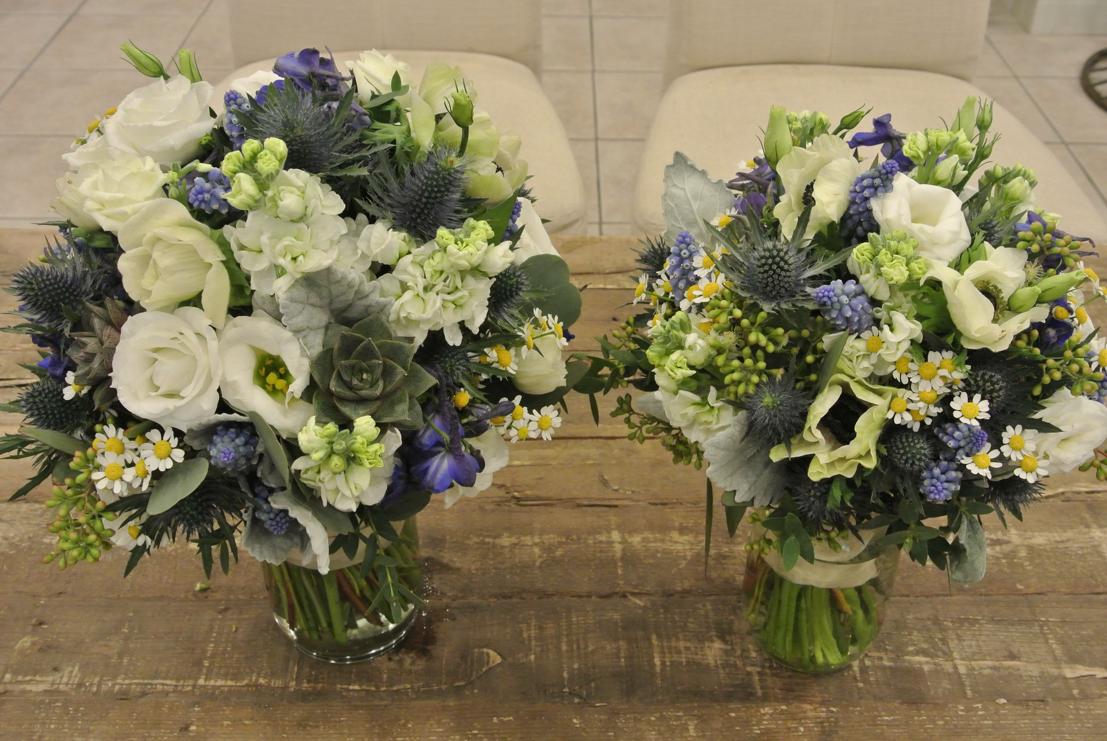 Blue and white bridal bouquet with lisianthus, anemones