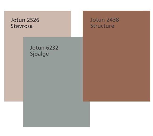Fargepalett *Jotun 2526 Støvrosa: En dempet og elegant rosatone. Fargens støvede uttrykk er svært behagelig å omgi seg med. *Jotun 6232 Sjøalge: En kjølig blågrønn farge med et utpreget grålig hint. En spennende kjølig kontrast. *Jotun 2438 Structure: En brent rødbrun farge med lun og gyllen undertone. En viktig fargetone i tiden som kommer | Interiørmessen i Milano