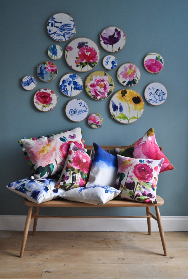 Colourful fabric in embroidery hoops. Fabric available from James Dunlop Textiles #scrapfabric